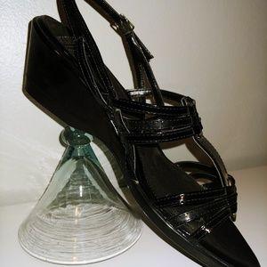 NWOT - Mootsies Tootsies Black Strappy Wedge Heels